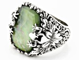 Pre-Owned Green Serpentine Triplet Silver Frog Ring