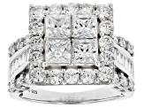 Pre-Owned White Cubic Zirconia Rhodium Over Sterling Silver Ring 6.58ctw