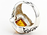 Pre-Owned Orange Amber Sterling Silver Ring 1.64ctw
