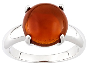 Pre-Owned Orange Oregon Fire Opal Sterling Silver Solitaire Ring