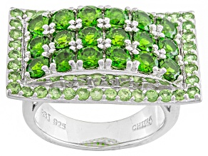 Pre-Owned Green Russian Chrome Diopside And Tsavorite Garnet Sterling Silver Ring 2.91ctw