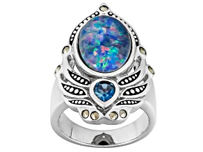 Pre-Owned Multicolor Opal Triplet Sterling Silver Ring .21ctw