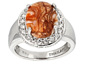 Pre-Owned Brown Mexican Caramel Spice Opal Sterling Silver Ring 3.13ctw