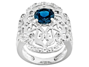 Pre-Owned London Blue And White Topaz Sterling Silver Ring 1.63ctw