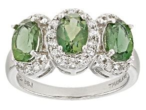 Pre-Owned Green Apatite Sterling Silver Ring 2.29ctw