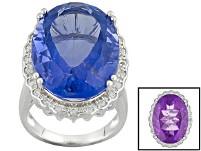 Pre-Owned Color Change Blue Fluorite Sterling Silver Ring 22.74ctw