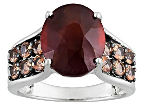Pre-Owned Red Hessonite Garnet Sterling Silver Ring 5.87ctw