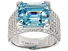 Pre-Owned Blue And White Cubic Zirconia Rhodium Over Sterling Silver Ring 11.49ctw