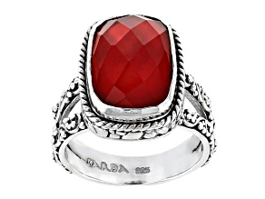 Pre-Owned Ruby Red Mother Of Pearl Triplet Silver Ring