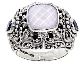 Pre-Owned White Agate Doublet Silver Ring .90ctw