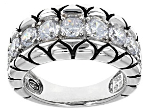 Pre-Owned White Cubic Zirconia Black And White Rhodium Over Silver Ring 3.74ctw