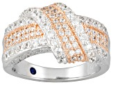Pre-Owned 1.82ctw Round White Cubic Zirconia .925 Sterling Silver Crossover Band Ring