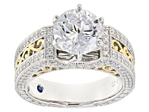 Pre-Owned White Cubic Zirconia Platineve And 18k Yellow Gold Over Sterling Silver Ring 6.23ctw