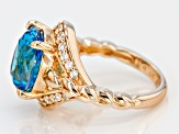 Pre-Owned Blue And White Cubic Zirconia 18k Yellow Gold Over Sterling Silver Ring 9.23ctw