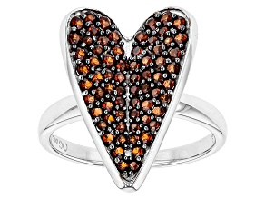 Pre-Owned Red Garnet Sterling Silver Heart Ring 1.15ctw