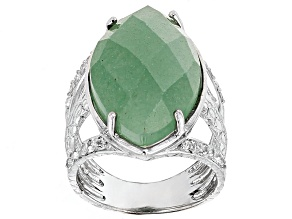 Pre-Owned Green Aventurine And White Topaz Sterling Silver Ring .24ctw