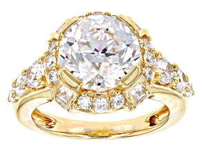 Pre-Owned White Cubic Zirconia 18k Yellow Gold Over Sterling Silver Precious Corners Ring 8.81ctw