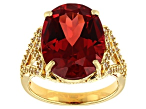 Pre-Owned Orange Lab Padparadscha Sapphire 18k Gold Over  Silver Ring 11.10ctw