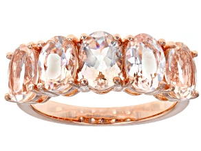 Pre-Owned Peach morganite 18k rose over silver ring 3.05ctw