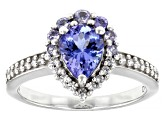 Pre-Owned Blue tanzanite rhodium over silver ring 1.35ctw