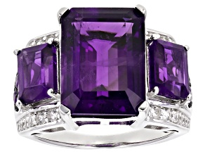 Pre-Owned Purple amethyst rhodium over silver ring 8.38ctw