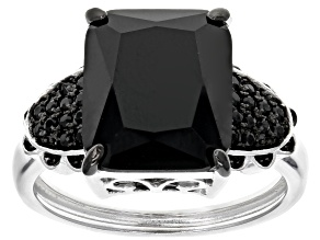 Pre-Owned Black Spinel Sterling Silver Ring 4.88ctw