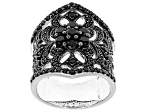 Pre-Owned Black Spinel Sterling Silver Ring 1.80ctw