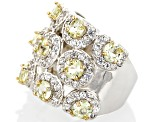 Pre-Owned Yellow Mexican Apatite Sterling Silver Ring 4.13ctw