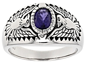 Pre-Owned Purple Iolite Gent's Sterling Silver Thunderbird Ring .80ct