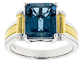Pre-Owned London Blue Topaz Sterling Silver Men's Ring 6.35ct