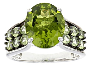 Pre-Owned Green Peridot Sterling Silver Ring 5.06ctw