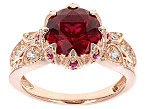 Pre-Owned Lab Ruby And White Cubic Zirconia 18k Rose Gold Over Silver Ring 3.74ctw
