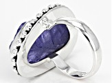 Pre-Owned Blue Tanzanite Rough Silver Ring