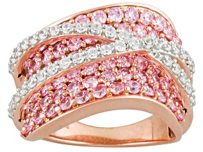 Pre-Owned Pink And White Cubic Zirconia 18k Rose Gold Over Silver Ring 6.04ctw (2.77ctw DEW)