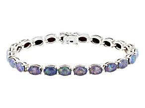 Pre-Owned Multicolor Opal Triplet Sterling Silver Tennis Bracelet