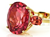 Pre-Owned Orange Lab created padparadscha sapphire 18k yellow gold over silver ring 9.28ctw