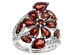 Pre-Owned Red Garnet Sterling Silver Floral Ring 5.92ctw