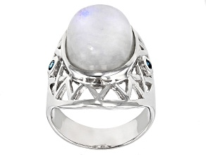 Pre-Owned White rainbow moonstone sterling silver ring .08ctw