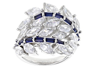 Pre-Owned Blue And White Cubic Zirconia Rhodium Over Sterling Silver Ring 7.48ctw