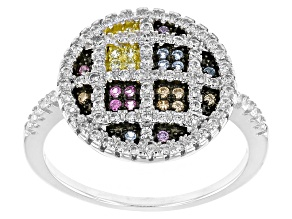 Pre-Owned White/Blue/Brown/Red/Yellow/Purple Cubic Zirconia Rhodium Over Silver Ring .96ctw