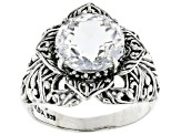 Pre-Owned White Quartz Sterling Silver Flower Ring 5.70ctw