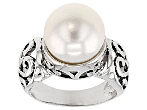 Pre-Owned White Cultured Freshwater Pearl, Rhodium Over Sterling Silver Ring