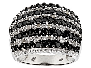 Pre-Owned Black and White Diamond Rhodium over Sterling Silver Ring 2.00ctw