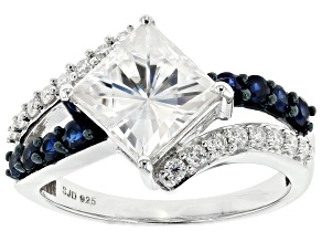 Pre-Owned Moissanite and blue sapphire platineve ring.
