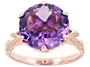 Pre-Owned 5.00ct round amethyst 18k rose gold over sterling silver ring