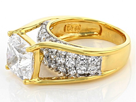 Pre-Owned Cubic Zirconia Rhodium & 18k Yellow Gold Over Silver Ring 9.91ctw