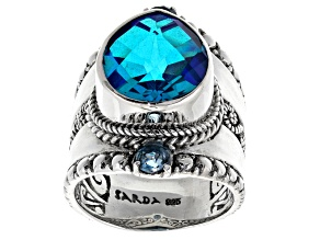 Pre-Owned Blue Caribbean Quartz Triplet Silver Ring .50ctw