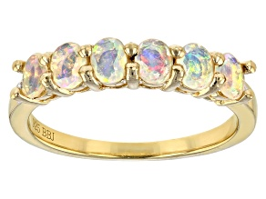 Pre-Owned Multicolor Ethiopian opal 18k gold over silver ring .55ctw