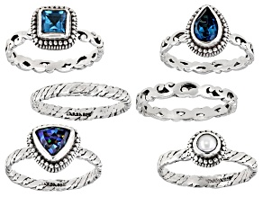 Pre-Owned Blue Topaz Sterling Silver 6 Ring Set 1.80ctw