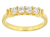 Pre-Owned Cubic Zirconia 18k Yellow Gold Over Silver Ring With Band 4.54ctw (2.82ctw DEW)